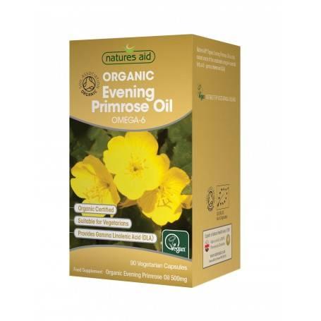 Natures Aid Ulei organic de luminita noptii 500 mg, 90 capsule vegetale moi