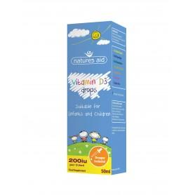Vitamina D3 Natures Aid picaturi pentru bebelusi si copii - 50 ml Natures Aid
