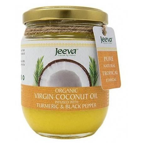 Ulei ce Cocos Organic Virgin cu Turmeric si Piper Negru 200ml Jeeva