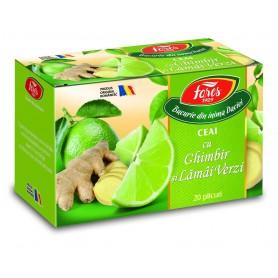 Ceai cu ghimbir și lămâi verzi, la plic
