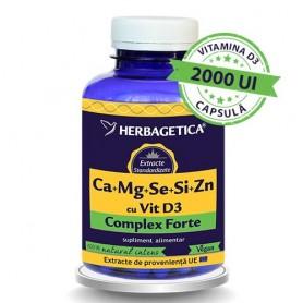 Ca+Mg+Se+Si+Zn cu Vit D3 Complex Forte 120cps