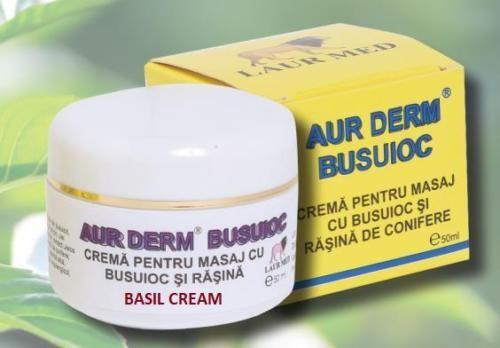 crema cu busuioc si rasina pentru masaj aur derm, 50 ml, laur med