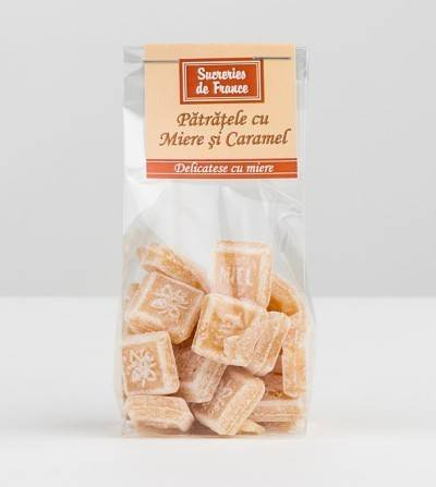 bomboane patratele cu miere si caramel 100g - apidava